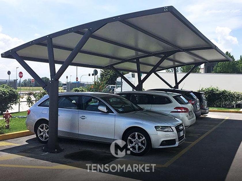 pensilina modulare per parcheggio aziendale