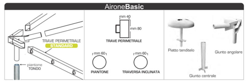 caratteristiche Gazebo professionale Airone