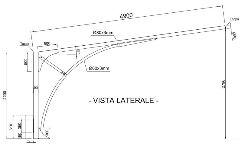 disegno carport in ferro ts10 lato